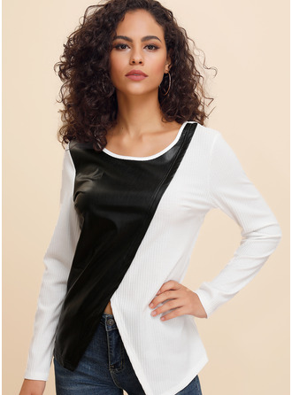 3/4 Sleeves Long Sleeves Polyester Round Neck Knit Blouses