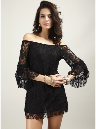 Polyester With Lace Mini Dress