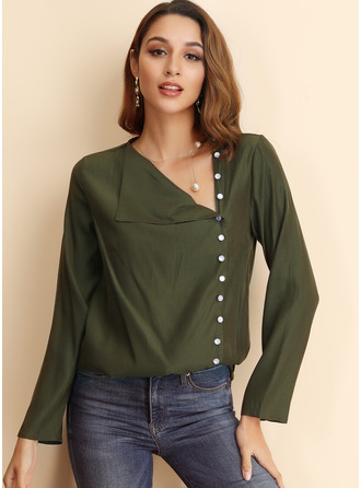Long Sleeves Cotton Blends Polyester V Neck ()