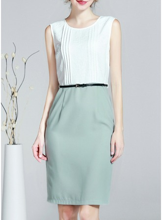 Polyester/Chiffon With Stitching Knee Length Dress