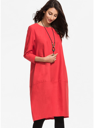 Viscose With Solid Knee Length/Midi Dress