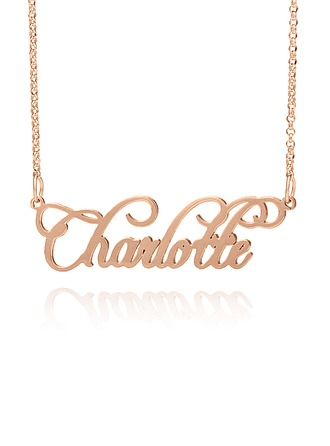 Custom 18k Rose Gold Plated Silver Old English Name Necklace