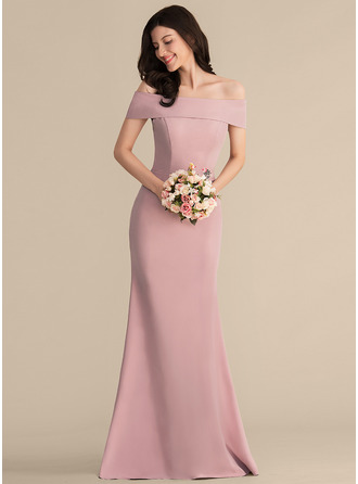 Trumpet/Mermaid Off-the-Shoulder Floor-Length Stretch Crepe Bridesmaid Dress
