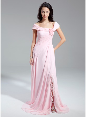 A-Line/Princess Off-the-Shoulder Chapel Train Chiffon Prom Dress With Ruffle Flower(s) Split Front