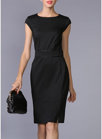 Ponte-de-roma With Solid Color Knee Length Dress