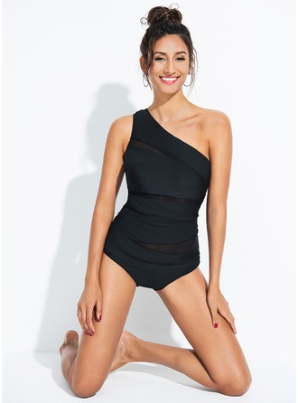 Elegant Solid Color Chinlon Spandex One-piece Swimsuit