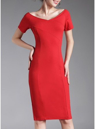 Cotton Blends With Resin solid color Knee Length Dress