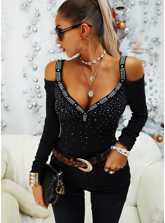 Regular Cotton Blends Cold Shoulder Sequins Solid Tight Blouses