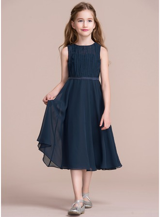 Scoop Neck Tea-Length Chiffon Junior Bridesmaid Dress With Ruffle