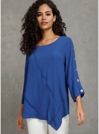 Long Sleeves Polyester Round Neck Bluzlar