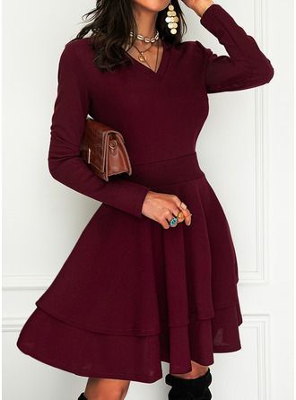 Solid A-line V-Neck Long Sleeves Midi Elegant Party Skater Dresses