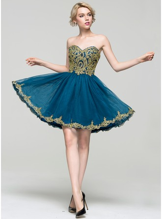 A-Line/Princess Sweetheart Short/Mini Tulle Prom Dress