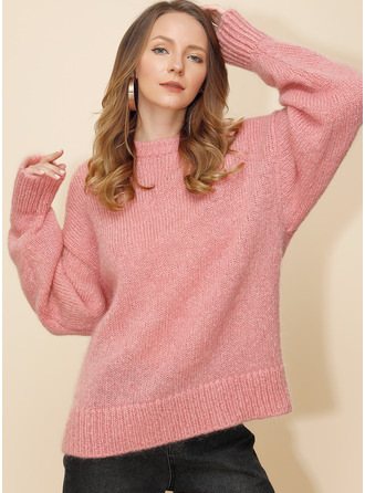 Cable-knit Chunky knit Solid Acrylic Round Neck Pullovers Sweaters