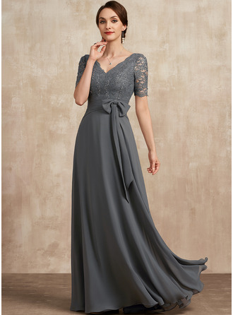 V-neck Floor-Length Chiffon Lace Mother of the Bride Dress With Sequins Bow(s)
