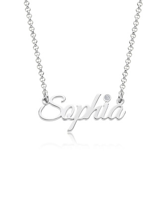 Custom Silver Letter Name Necklace Birthstone Necklace With Birthstone - Birthday Gifts (288250668)