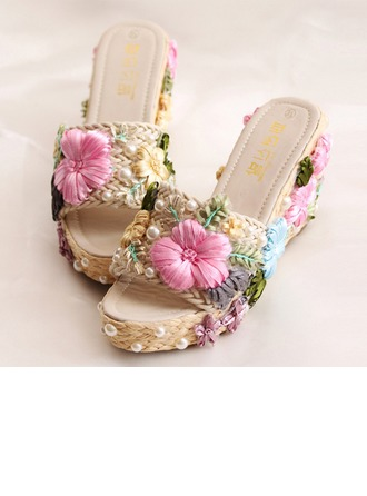 Femmes Similicuir Talon compensé Tongs Plateforme Beach Wedding Shoes avec Une fleur