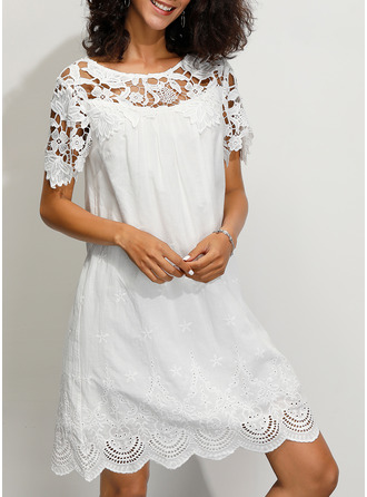 Cotton With Lace/Solid Above Knee Dress