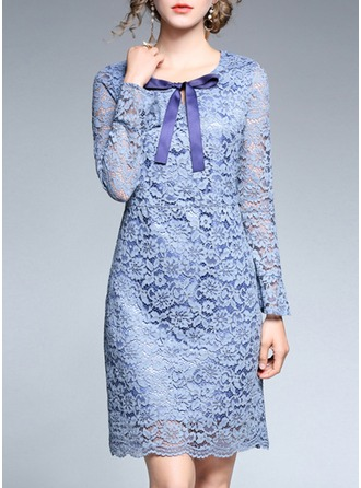 Lace With Lace/Bowknot/Stitching Knee Length Dress