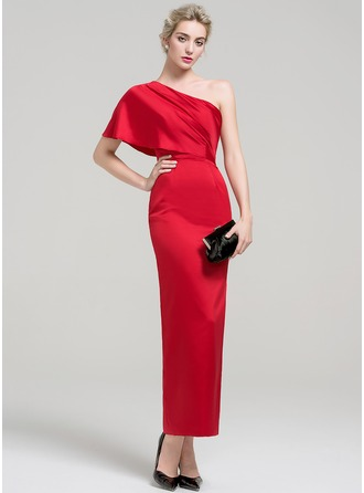 Sheath/Column One-Shoulder Ankle-Length Charmeuse Evening Dress With Ruffle