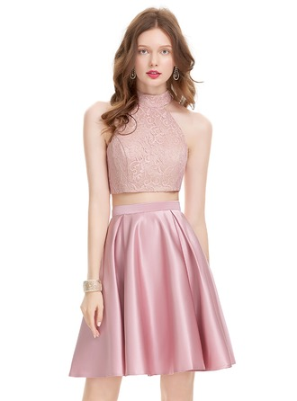 A-Line/Princess Scoop Neck Knee-Length Satin Prom Dress
