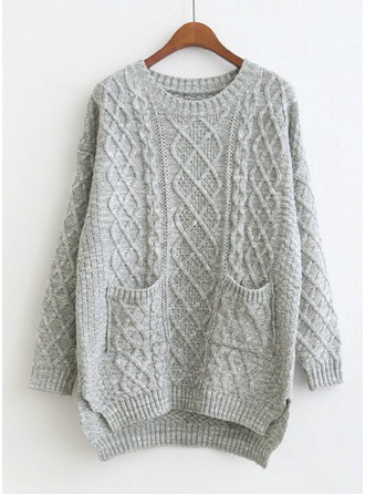 Plain Cotton Blends Round Neck Sweater Sweaters