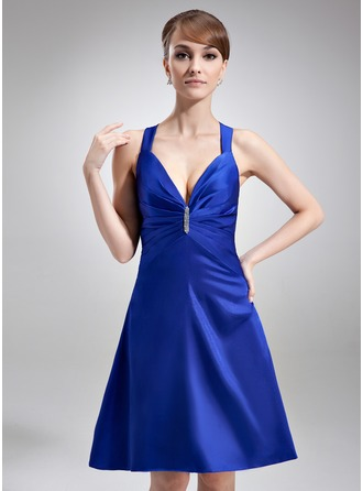 A-Line/Princess V-neck Knee-Length Charmeuse Cocktail Dress With Ruffle Beading