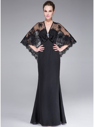 Trumpet/Mermaid V-neck Floor-Length Chiffon Lace Evening Dress With Beading Sequins Bow(s)