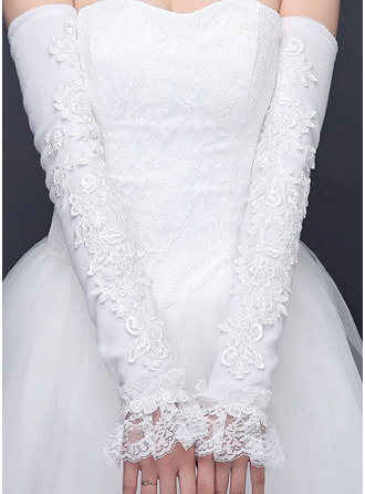 Lace Opera Length Bridal Gloves With Lace