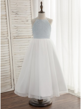 A-Line/Princess Ankle-length Flower Girl Dress - Chiffon Tulle Sleeveless Halter With Pleated