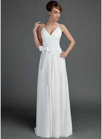 A-Line/Princess V-neck Floor-Length Chiffon Wedding Dress With Ruffle Sash Bow(s)