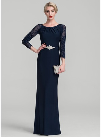 Sheath/Column Scoop Neck Floor-Length Lace Jersey Evening Dress With Beading