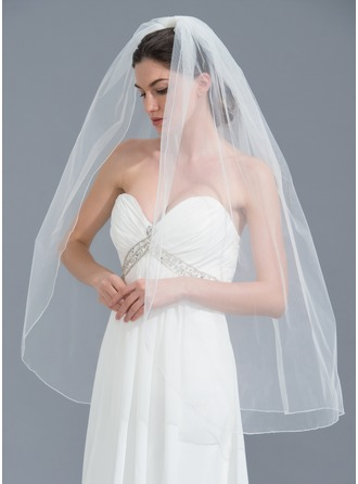 One-tier Pencil Edge Fingertip Bridal Veils