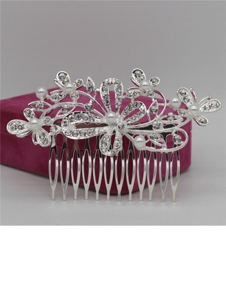 Ladies Eye-catching Alloy Combs & Barrettes With Rhinestone/Venetian Pearl (Sold in single piece)
