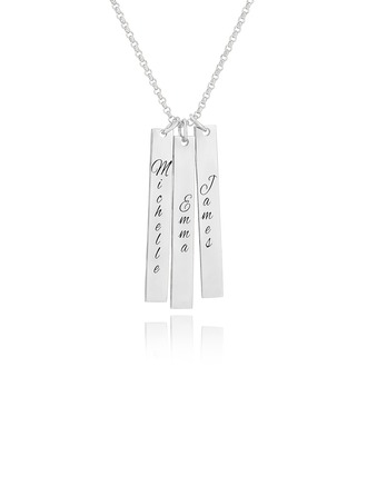 Custom Sterling Silver Engraving/Engraved Family Three Bar Necklace