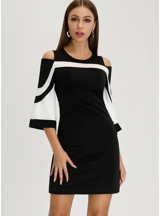 Round Neck 3/4 Sleeves Cold Shoulder Sleeve Midi Dresses
