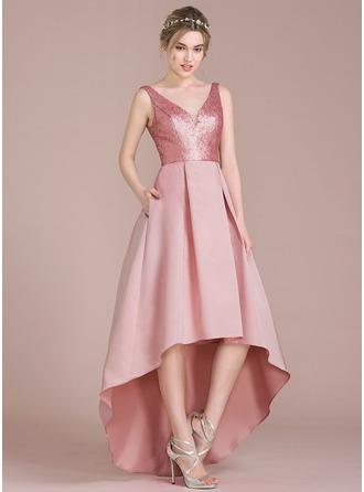 A-Line/Princess V-neck Asymmetrical Satin Sequined Bridesmaid Dress