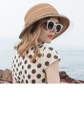 Ladies' Simple/Fancy Papyrus With Tulle Beach/Sun Hats