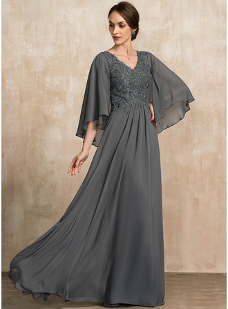 V-neck Floor-Length Chiffon Lace Mother of the Bride Dress With Sequins