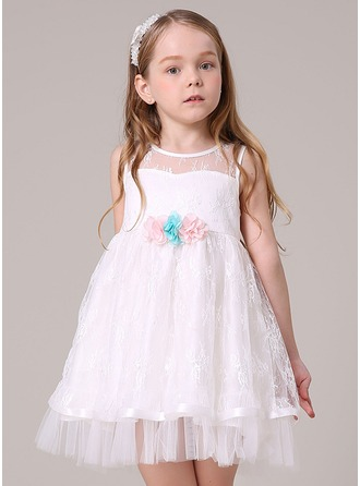 A-Line/Princess Knee-length Flower Girl Dress - Tulle/Lace/Polyester Sleeveless Scoop Neck With Flower(s)