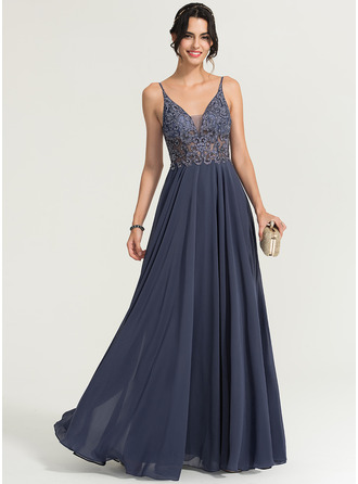 A-Line V-neck Floor-Length Chiffon Prom Dresses With Beading