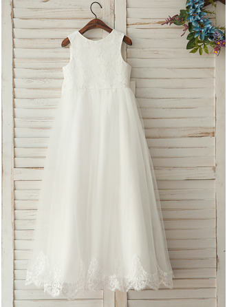 Floor-length Flower Girl Dress - Satin Lace Sleeveless Scoop Neck