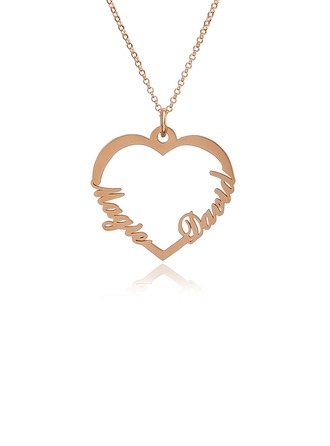 Custom 18k Rose Gold Plated Silver Two Name Necklace Heart Necklace