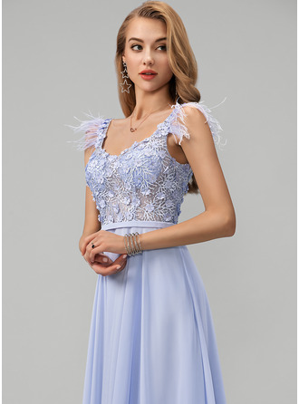 V-neck Floor-Length Chiffon Prom Dresses With Lace Beading Feather Flower(s)