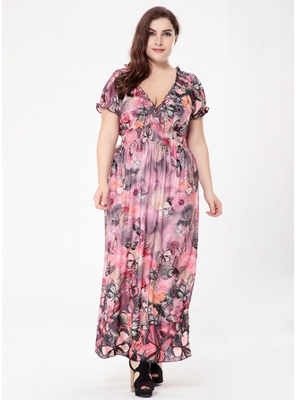 Polyester With Ruffles Maxi Dress