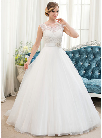 Ball-Gown/Princess Scoop Neck Sweep Train Organza Lace Wedding Dress With Beading Sequins