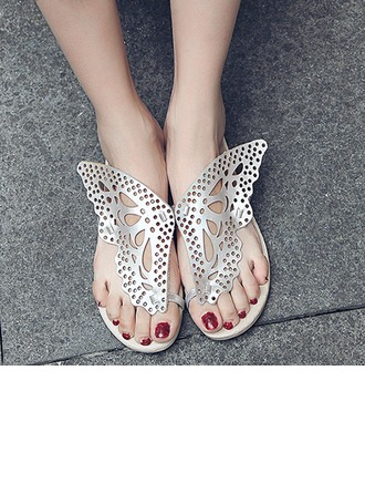 Femmes Similicuir Talon plat Tongs Sandales Beach Wedding Shoes avec Ouvertes