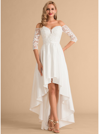 Off-the-Shoulder Asymmetrical Satin Lace Wedding Dress