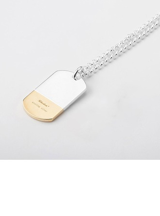 Personalized Ladies' Hottest 925 Sterling Silver/Rose Gold Plated With Oval Engraved Necklaces Necklaces For Bridesmaid/For Couple