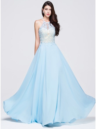 A-Line/Princess Scoop Neck Floor-Length Chiffon Prom Dress With Beading Appliques Lace Sequins