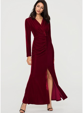 Velvet With Stitching/Crumple Maxi Dress